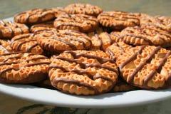 czekoladowe ciasteczka walcowane shortbread nosi Obrazy Stock