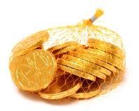 czekoladowe monety Zdjęcia Royalty Free