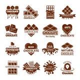 Czekoladowe odznaki Logo projekt dla cukierki cacao fasoli deserów gotuje symbolu wektoru pojęcia ilustracji