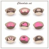 Czekoladowe smakowite cukierki ikony ustawiać Zdjęcia Stock