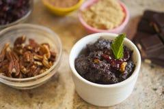 Czekoladowego Cranberry Chlebowy pudding w pucharze Fotografia Royalty Free