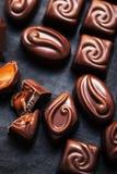 Czekoladowego cukierku pudełko - asortyment ciemna czekolada Fotografia Royalty Free