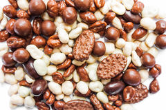 Czekoladowego cukierku stos, czekolada i karmel, biała i dojna Obrazy Stock