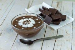 czekoladowego kremowego wyśmienicie deseru dof ulegająca puddingu płycizna batożył Obraz Royalty Free