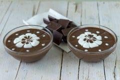 czekoladowego kremowego wyśmienicie deseru dof ulegająca puddingu płycizna batożył Obrazy Stock