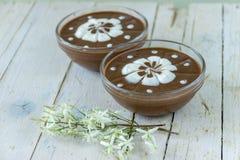 czekoladowego kremowego wyśmienicie deseru dof ulegająca puddingu płycizna batożył Zdjęcie Royalty Free