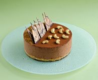 Czekoladowego mousse tort na mlecznozielonym tle Fotografia Stock