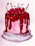 Czekoladowego torta akwareli nakreślenia projekta sztuki projekta tła ilustracyjna sztuka royalty ilustracja
