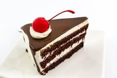Czekoladowego torta plasterek fotografia royalty free