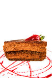 Czekoladowego torta plasterek z czerwonym kumberlandem Fotografia Royalty Free