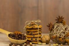 Czekoladowego układ scalony ciastka Cynamonowi kije, kardamon i gwiazdowy anyż, zdjęcie stock