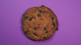 Czekoladowego układu scalonego ciastka zakończenie, makro- strzał, szybki przędzalnictwo na płodozmiennym purpurowym tle zdjęcie wideo