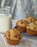Czekoladowego układu scalonego mleko i muffins Obrazy Royalty Free