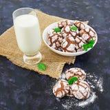 Czekoladowi ciastka i szkło mleko na ciemnym tle Obrazy Royalty Free