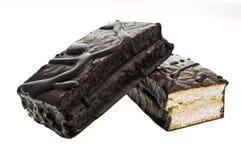 Czekoladowi ciastko bary Odizolowywający na białym tle z clippin obraz royalty free