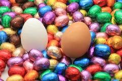 Czekoladowi i kurni Easter jajka Zdjęcie Royalty Free