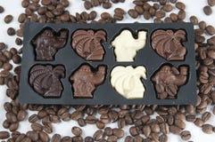 czekoladowi kawowi ziarna Fotografia Royalty Free