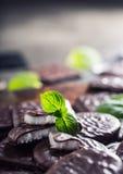 Czekoladowi Miętowi ciastka Mennica miętówka mentol Czarna czekolada z miętową śmietanką Czarna czekolada z nowym farszem Fotografia Royalty Free