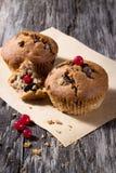 Czekoladowi muffins na drewnianym tle Zdjęcie Royalty Free