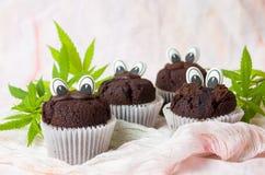 Czekoladowi muffins z jadalnymi oczami i marihuana liśćmi Zdjęcia Stock