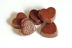 czekoladowi serca Zdjęcie Royalty Free