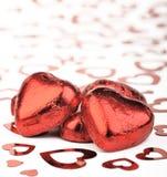 czekoladowi serca Zdjęcia Royalty Free