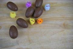 Czekoladowi Wielkanocni jajka z puszystymi kolorowymi pisklęcymi dekoracjami obraz royalty free