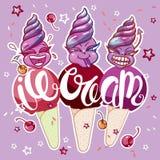 czekoladowy śmietanki owoc lodu set royalty ilustracja
