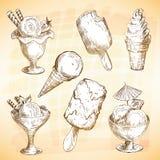 czekoladowy śmietanki owoc lodu set Zdjęcia Royalty Free
