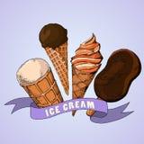 czekoladowy śmietanki owoc lodu set ręk patroszone ilustracje ilustracji