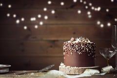 Czekoladowy świętowanie tort Zdjęcie Royalty Free