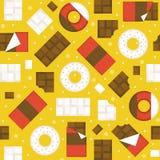 Czekoladowy bar i donuts bezszwowy deseniowy tło royalty ilustracja