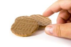 czekoladowy biskwitowy pokusy. Zdjęcie Royalty Free