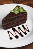 Czekoladowy cheesecake z mennicą Zdjęcie Stock