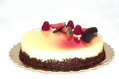 czekoladowy ciasto tort, jagody i Fotografia Royalty Free
