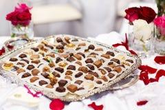 Czekoladowy cukierki stół na ślubu lub wydarzenia przyjęciu Obraz Royalty Free
