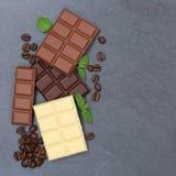 Czekoladowy czekolada baru cukierków łupku kwadrata copyspace karmowy wierzchołek Obraz Royalty Free