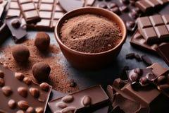czekoladowy deserowy macro składa cukierki obrazy stock