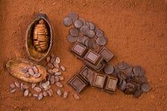 czekoladowy kakao owoc proszek Zdjęcia Royalty Free