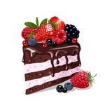 czekoladowy kawałek tortu ilustracji