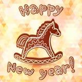 Czekoladowy koński nowego roku kartka z pozdrowieniami Zdjęcia Royalty Free
