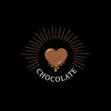 Czekoladowy logo, etykietka, odznaka lub emblemat z sercem, Zdjęcie Stock