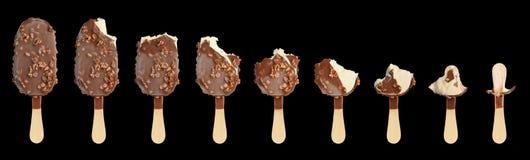 czekoladowy śmietanki owoc lodu set Fotografia Stock