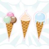 czekoladowy śmietanki owoc lodu set Obrazy Royalty Free