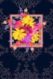Czekoladowy pakunku projekt lub pionowo karta powitania, zaproszenia lub, kwitniemy róże, dzwon i kosmos z jaskrawym bukietem royalty ilustracja