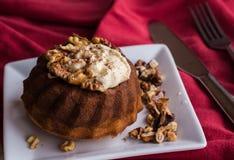 Czekoladowy pomarańcze tort z masło kremowymi i wznoszącymi toast orzechami włoskimi Zdjęcia Royalty Free