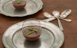 Czekoladowy pudding z imbirem i mennicą Fotografia Royalty Free