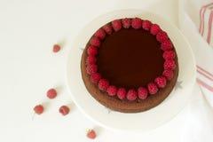 Czekoladowy punktu tort z malinkami i czekoladowym lodowaceniem na lekkim tle Obraz Stock