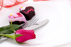 czekoladowy serca róży kształt Fotografia Stock