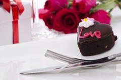 czekoladowy serca róży kształt Zdjęcia Royalty Free